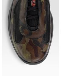 Prada   Brown Camouflage Leather Sneakers for Men   Lyst