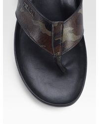 Prada - Brown Camouflage Thong Sandals for Men - Lyst
