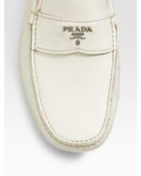 Prada - White Logo Loafers for Men - Lyst