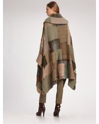 Ralph Lauren Blue Label - Brown Wool/cashmere Patchwork Poncho - Lyst