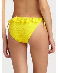 Ralph Lauren Blue Label | Yellow Ruffled Crochet Halter Top | Lyst