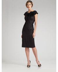 Tadashi Shoji | Black Pleated Taffeta Rosette Dress | Lyst