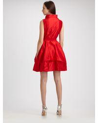 Teri Jon | Red Silk Dupioni Ruffle Front Dress | Lyst