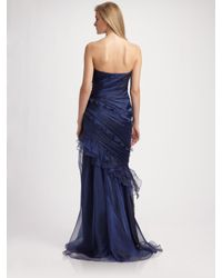 THEIA - Blue Ruched Shimmer Organza Strapless Dress - Lyst