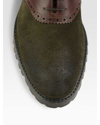 To Boot - Green Suede & Leather Saddle Shoes for Men - Lyst