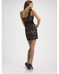 Valentino - Black Lace One Shoulder Dress - Lyst