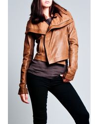 VEDA | Brown Max Leather Classic Jacket in Stone | Lyst