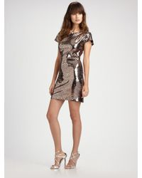 Vicky Tiel | Metallic Leopard Sequin Short Sleeve Dress | Lyst