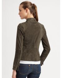 Vince - Gray Asymmetrical Suede Leather Jacket - Lyst