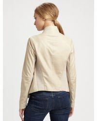 Vince - Natural Leather Cowlneck Jacket - Lyst