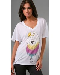Wildfox | White The Exclusive Desert Eagle V-neck Tee in Diamond | Lyst
