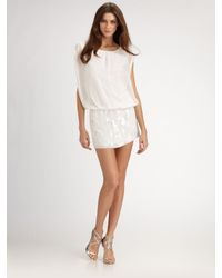 Aidan Mattox | White Beaded Chiffon Blouson Mini Dress | Lyst