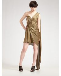 Alexander Wang | Metallic Asymmetric Satin-jersey Knit Dress | Lyst