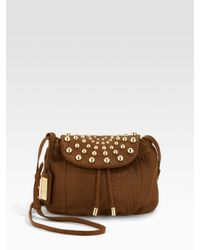 Badgley Mischka | Brown Melanie Studded-flap Bag | Lyst