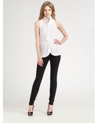 BCBGMAXAZRIA | White Stretch Cotton Poplin Shirt | Lyst
