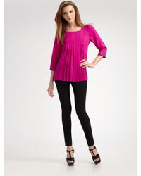 Brian Reyes | Pink Pleated Silk Blouse | Lyst