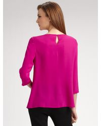 Brian Reyes - Pink Pleated Silk Blouse - Lyst