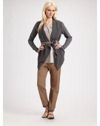 Brunello Cucinelli | Gray Wool Gauze Drape Front Cardigan | Lyst