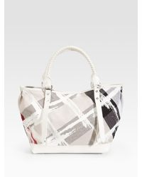 Burberry | Green Painted-check Canvas Tote | Lyst