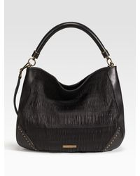 Burberry | Black Plissé Leather Hobo | Lyst
