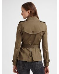 Burberry Brit - Green Cropped Trench Coat - Lyst