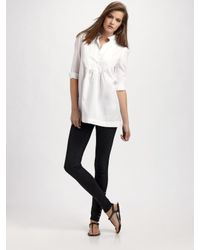 Burberry Brit | White Bib-front Tunic Top | Lyst