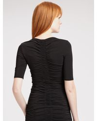 Burberry - Black Ruched V-neck Top - Lyst