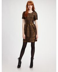 Burberry | Metallic Leena Ikat Pleat Front Dress | Lyst