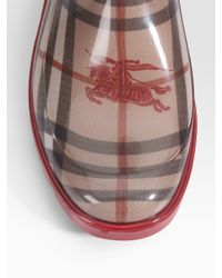 Burberry - Red Rubber Rain Boots - Lyst