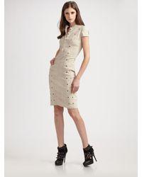 Burberry Prorsum | Natural Rivet-embellished Stretch-linen Dress | Lyst