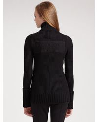 Burberry Sport | Black Merino Wool Zip-front Sweater | Lyst