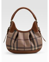 Burberry | Brown Checked Hobo | Lyst