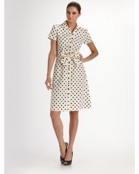 Carolina Herrera | White Polka Dot Poplin Shirtdress | Lyst