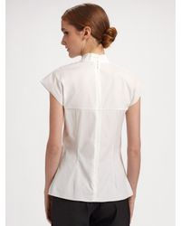Carolina Herrera - White Cotton Poplin Ruffle Front Blouse - Lyst