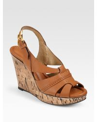 Chloé - Brown Cork Wedge with Slingback - Lyst