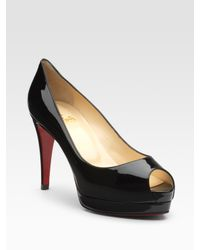 Christian Louboutin | Black Altadama Patent Leather Peep-toe Pumps | Lyst
