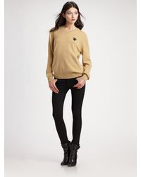 Comme des Garçons | Natural Wool V-neck Sweater | Lyst