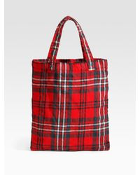 Comme des Garçons | Red Tartan North/south Tote | Lyst