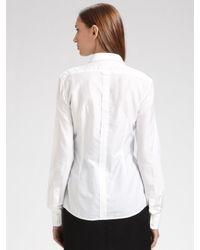 Dolce & Gabbana - White Cotton Tuxedo Shirt - Lyst
