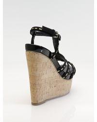 Dior - Black Antica Suede Cork Wedge Sandals - Lyst