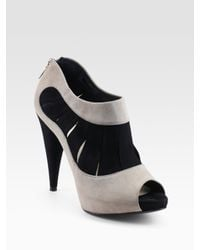 Dior | Gray Eclipse Peep-toe Suede Ankle Boots | Lyst