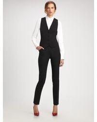 Dolce & Gabbana | Black Stretch Wool Lace Back Vest | Lyst