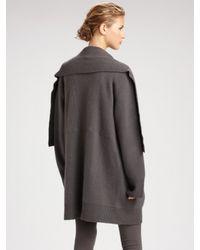 Donna Karan - Gray Drape Front Long Cozy Cardigan - Lyst
