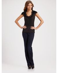 Elie Tahari | Black Feather and Ruffle Top | Lyst