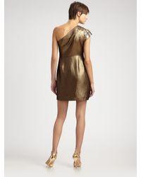 Elie Tahari - Metallic Lamé One-shoulder Dress - Lyst