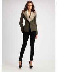 Elizabeth and James - Green Fur-collar Poe Blazer - Lyst