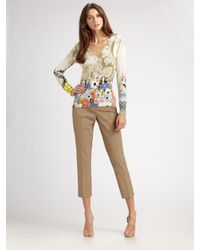 Etro | Green Floral Paisley V-neck Top | Lyst