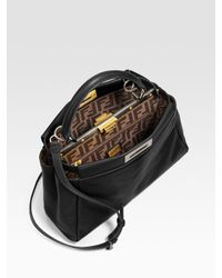 Fendi - Black Regular Peekaboo Top Handle Bag - Lyst