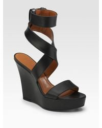 Givenchy | Black Corinne Strappy Wedge Sandals | Lyst