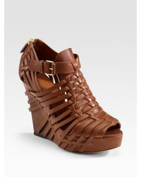 Givenchy | Brown Corinne Woven Leather Wedge Sandals | Lyst
